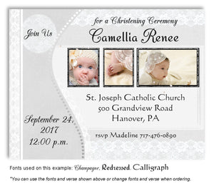 Light Gray Vintage Lace Invitation Photo Baptism Magnet