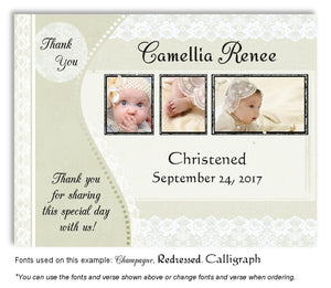Light Green Vintage Lace Thank You Photo Baptism Magnet