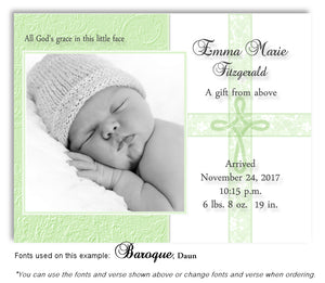 Lime Green Photo Birth Announcement Magnet