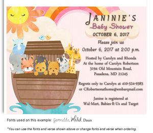 Pink Noah Invitation Baby Shower Magnet