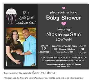 Pink Showers of Love Invitation Photo Baby Shower Magnet