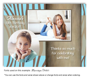 Sky-Blue-Brown Zebra Thank You Photo Birthday Magnet