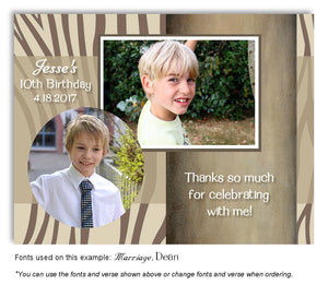 Tan-Brown Zebra Thank You Photo Birthday Magnet