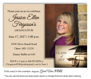 Tan Invitation Photo Graduation Magnet