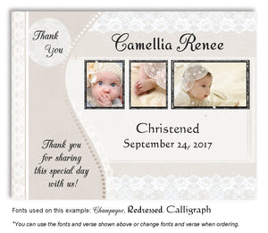Tan Vintage Lace Thank You Photo Baptism Magnet