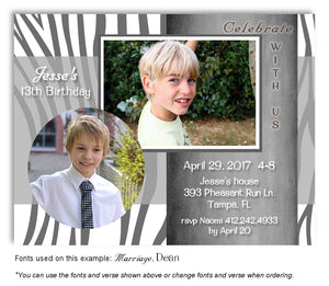White-Gray Zebra Invitation Photo Birthday Magnet