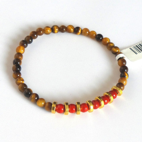 Red Bead Stretch Bracelet With Golden Rings