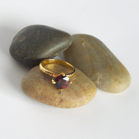 Ruby-Red Stone Gold Plated Garnet Ring