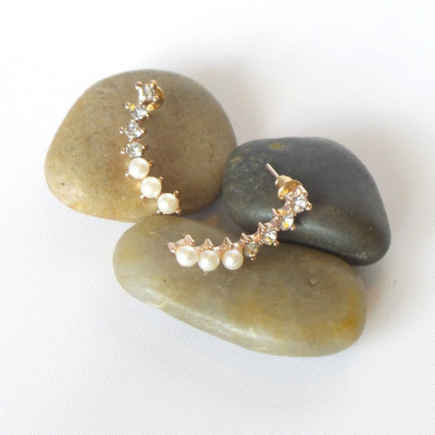 Faux-Pearl and Crystal Ear Climbers