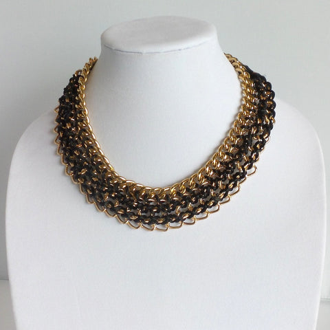 Statement Black and Gold Collar Necklace