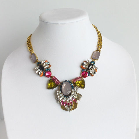 Statement Colorful Crystal Necklace