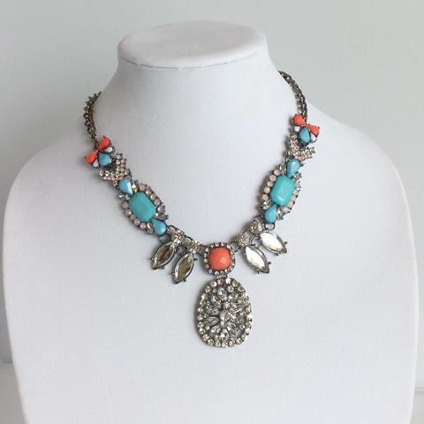 Statement Blue and Pink Crystals Bib Necklace