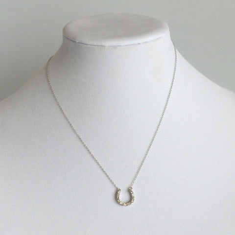Horseshoe Silver with Crystals Pendant Necklace