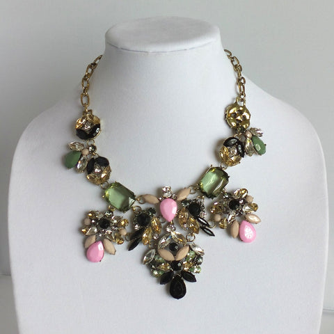 Statement Pink Green and Black Necklace