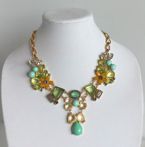 Statement Orange Green and Blue Necklace
