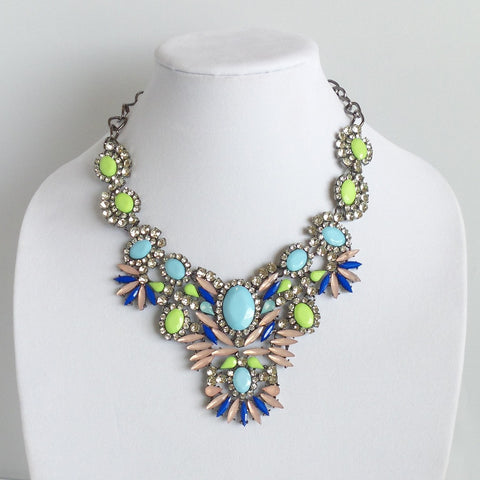 Statement Pink Blue and Green Necklace