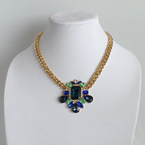 Statement Blue and Green Crystals Bib Necklace