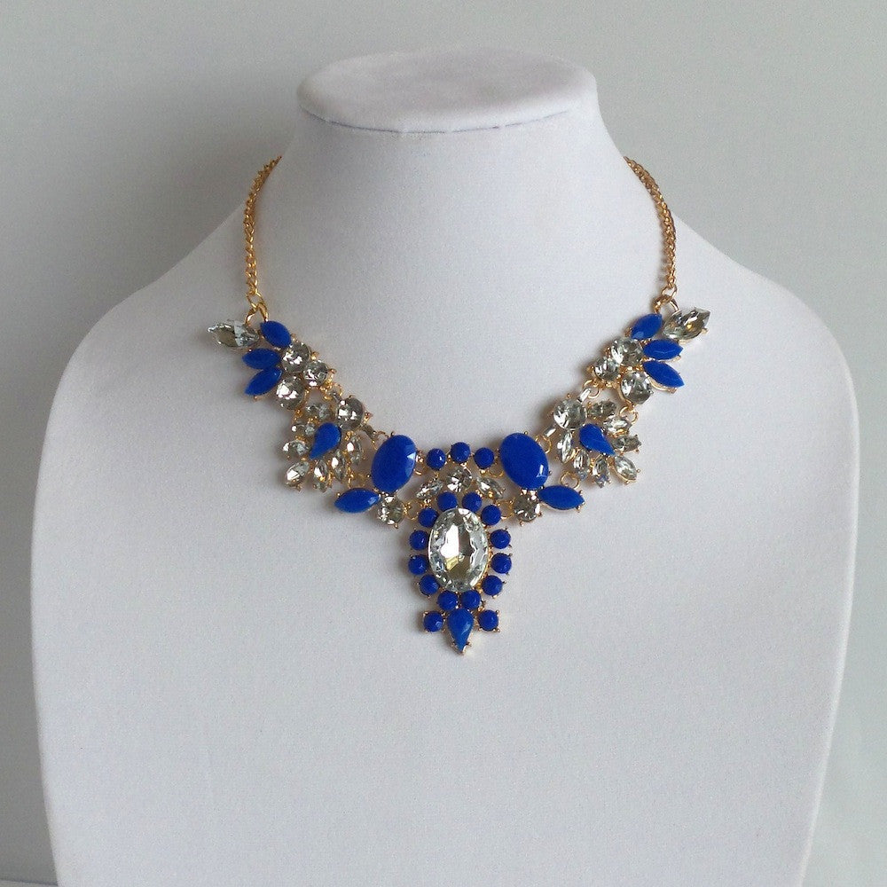 Statement Blue and Gold Necklace