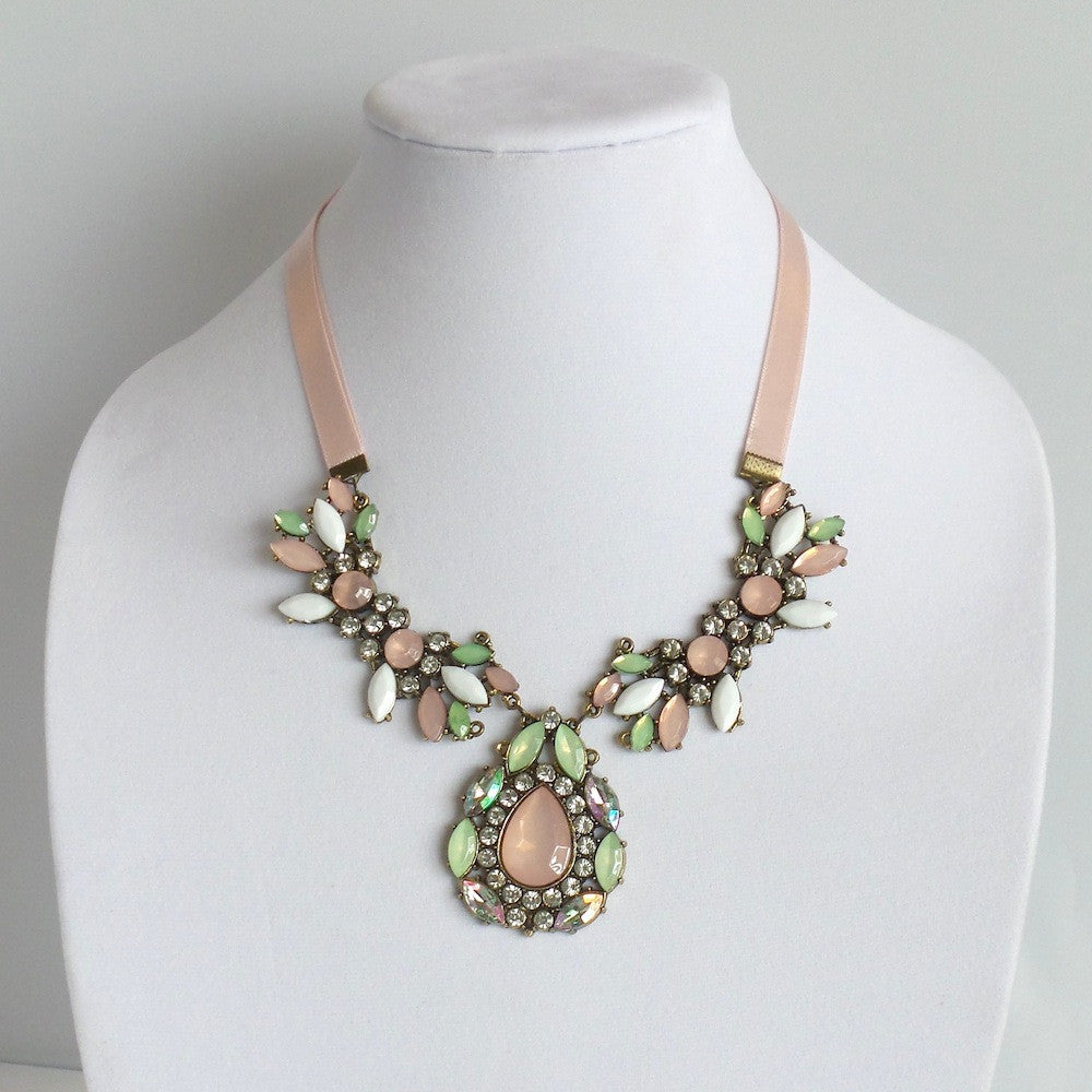 Statement Pink Ribbon Collar Necklace