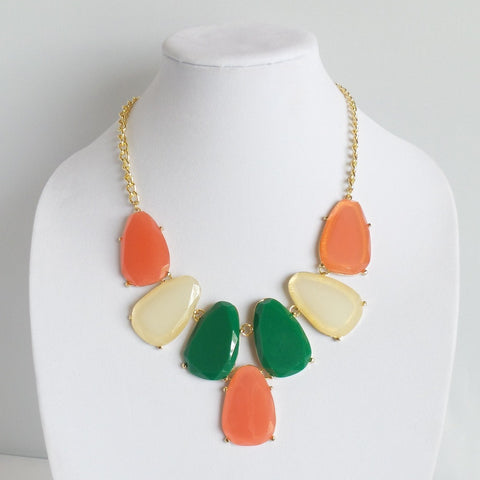 Statement Coral Green and Cream Necklace