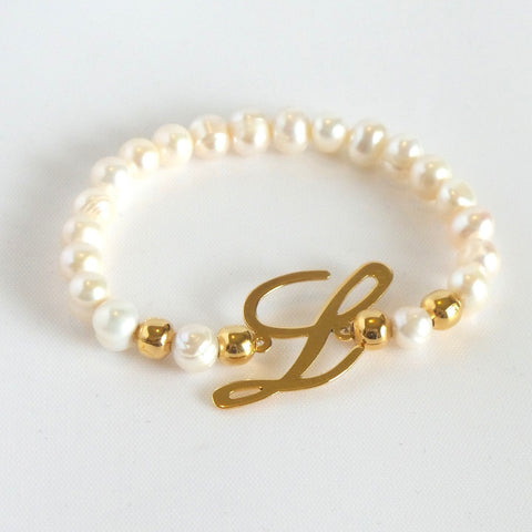 Pearls Bracelet with Initial  *click for more letters - Estilo Concept Store