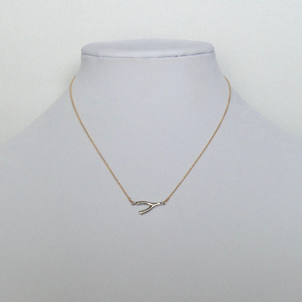 Horizontal Wishbone Pendant Necklace