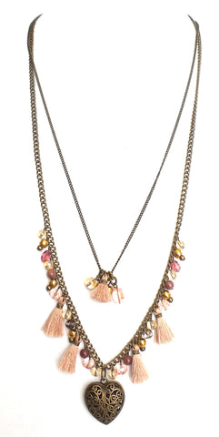 Heart Pendant and Pink Tassels Layered Necklace