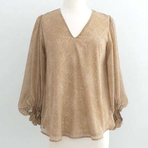 Puff Sleeve Sand Snake Print Top - Estilo Concept Store