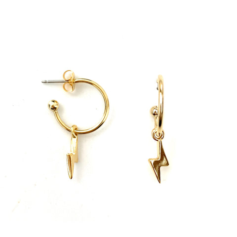Gold Lightning Bolts Earrings