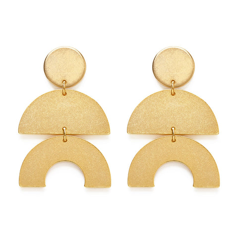 Golden Geometric Stud Earrings