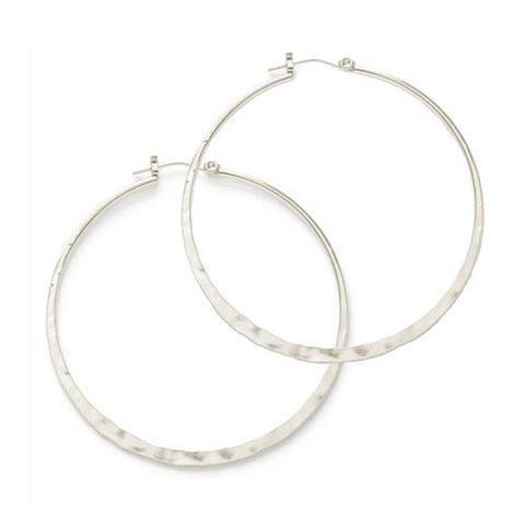 Silver Hammered Hoops