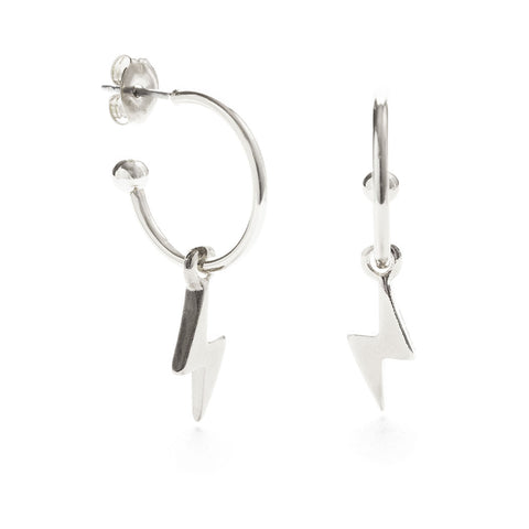 Silver Lightning Bolts Earrings