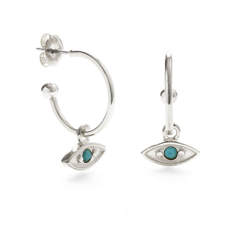 Silver Mystic Eye Hoop Turquoise Earrings