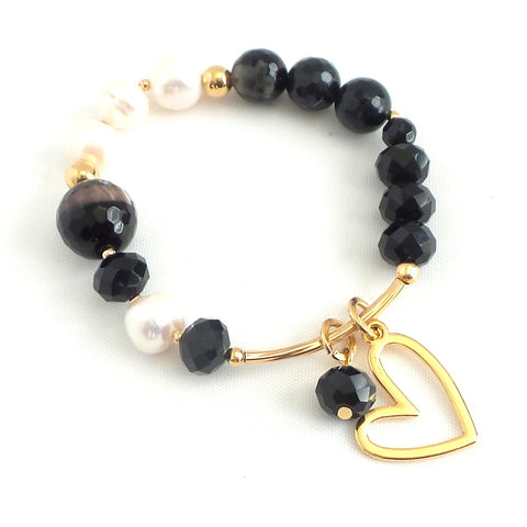 Freshwater Pearls and Heart Charm Bracelet