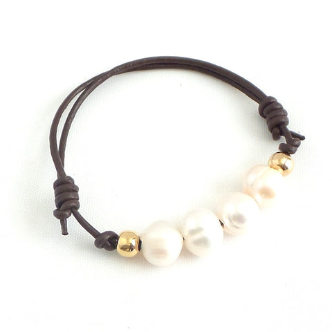 Freshwater Pearls Leather Bracelet *click for more colors