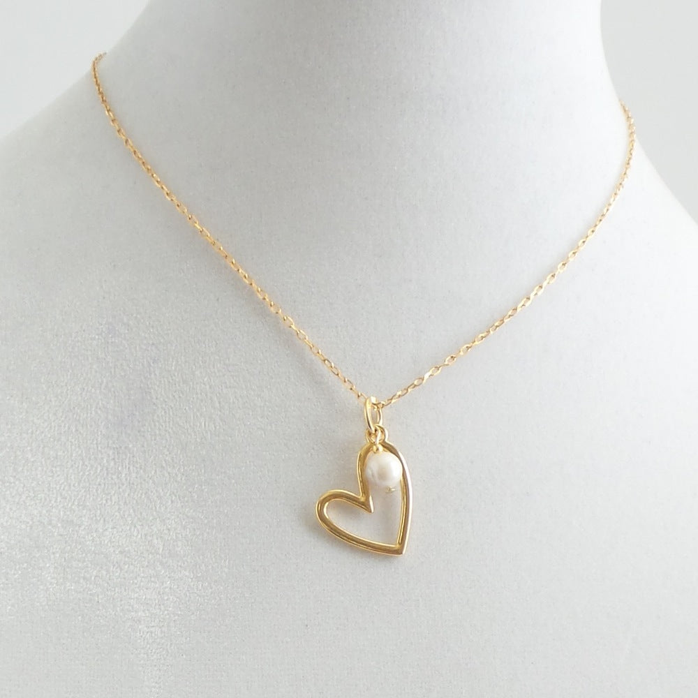 Heart Pendant with Freshwater Pearl Necklace