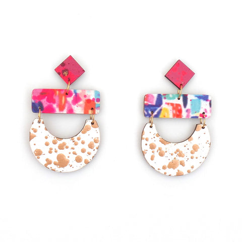 Madeline-Neon Abstract White Gold Splatter Earrings