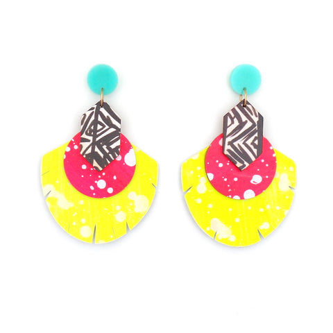 Renee Neon Pink Black White Highlighter Earrings