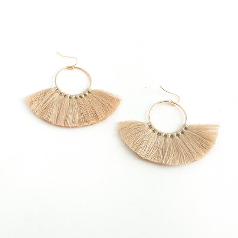 Maria Tan Fan Tassel Earrings