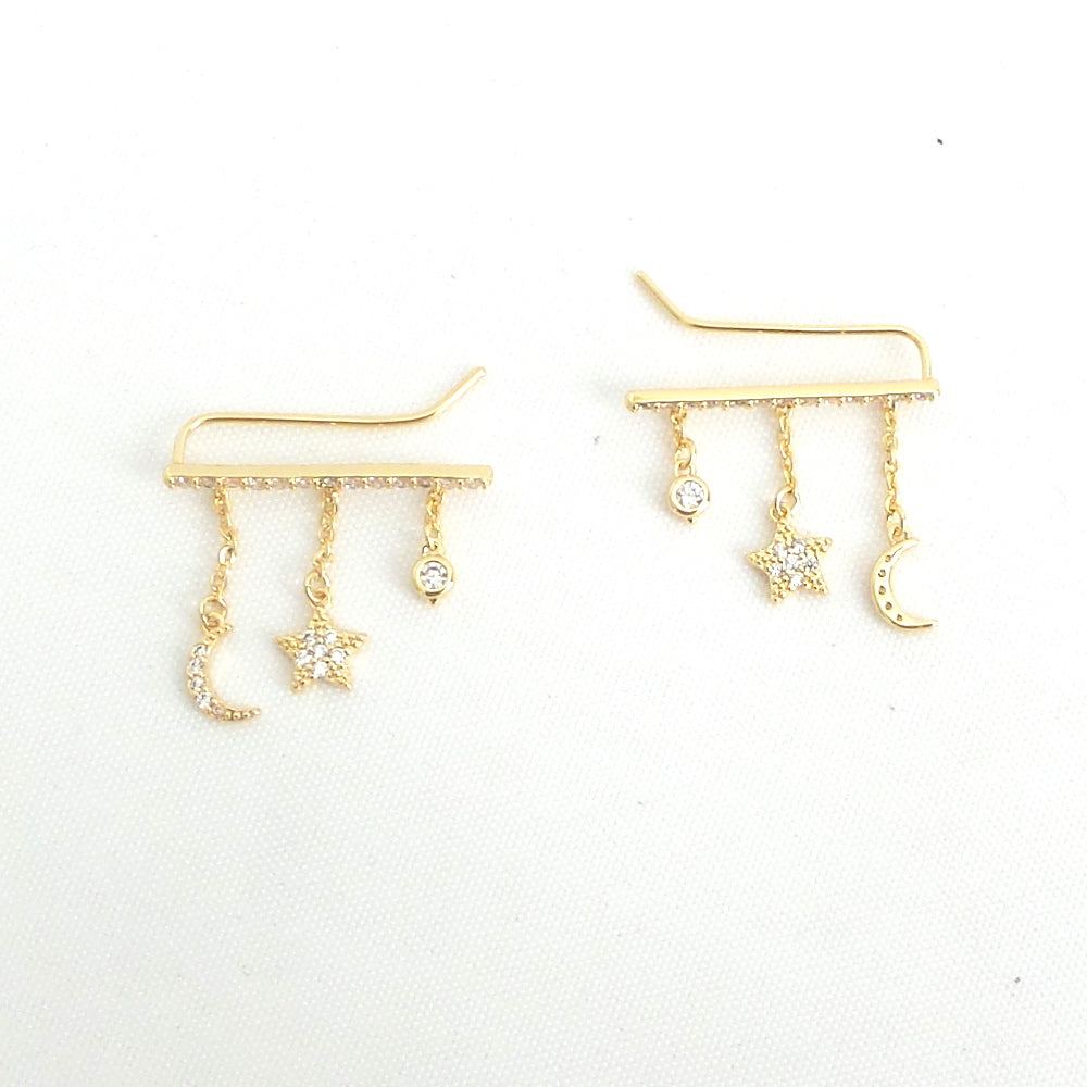 Star and Moon Climber Earrings - Estilo Concept Store