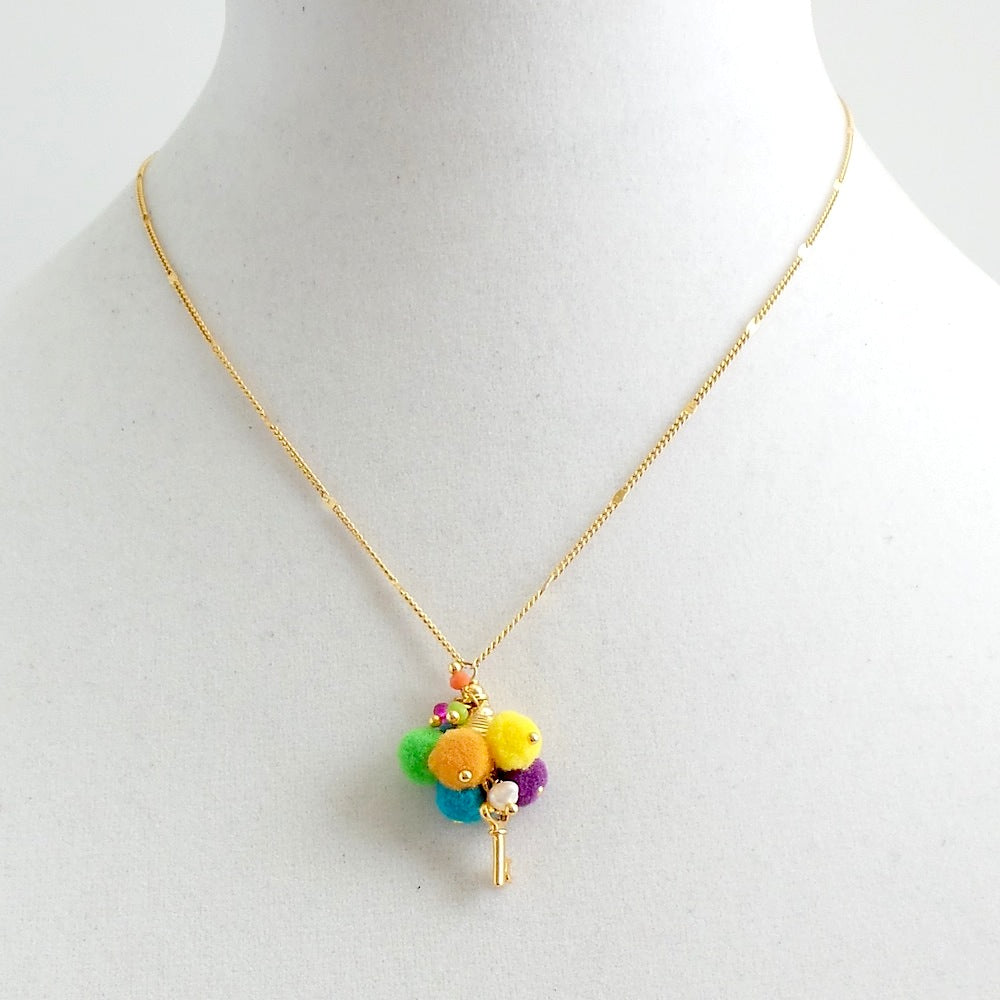 Colorful Pom Poms Key Pendant Necklace