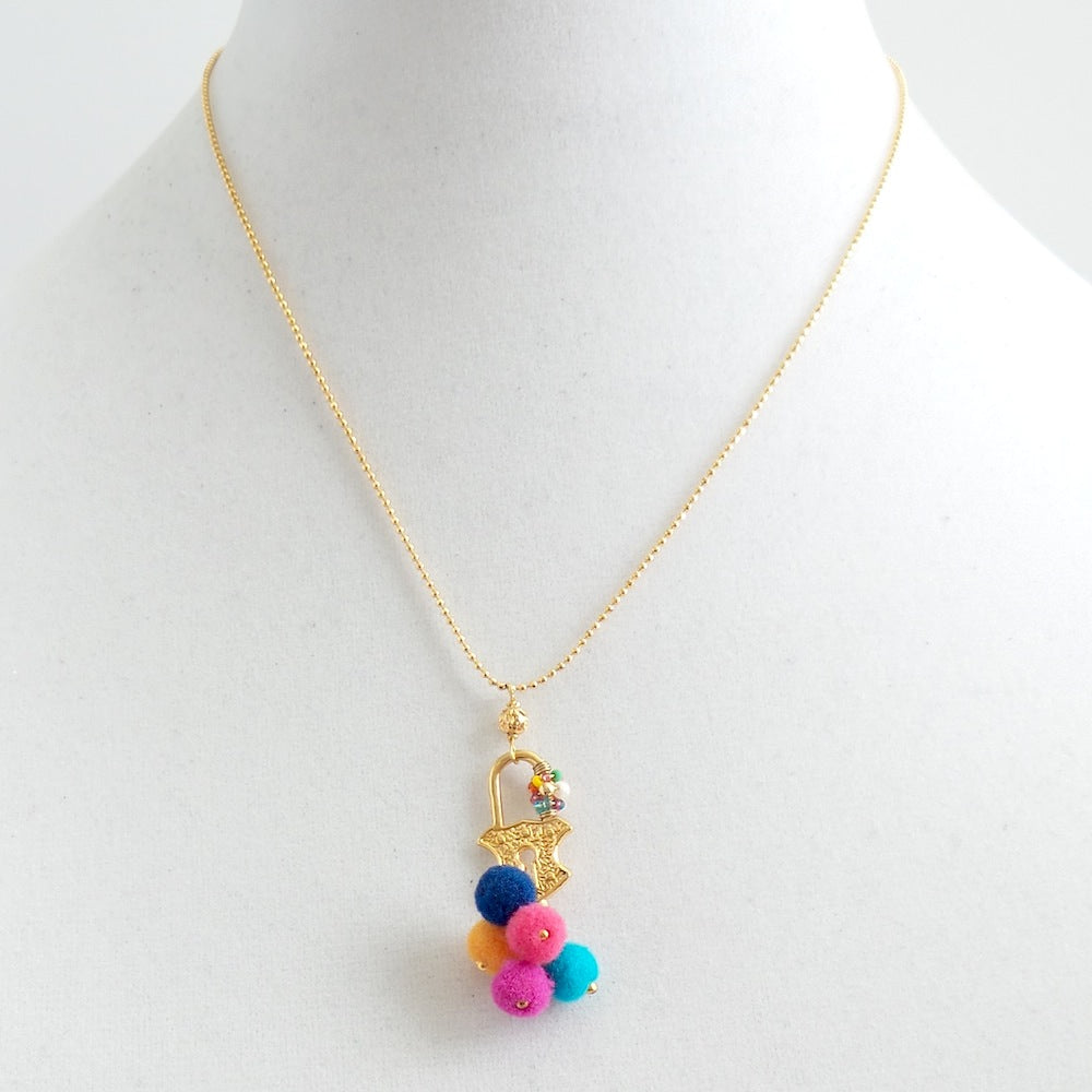 Colorful Pom Poms Lock Pendant Necklace
