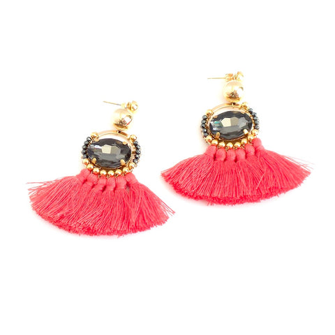 Coral Fan Earrings with Crystal