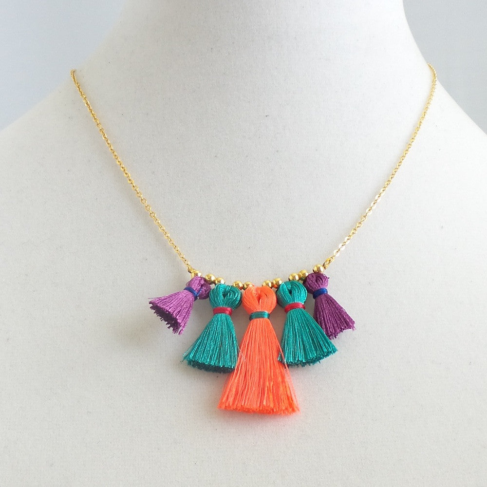 Five Tassels Frontal Necklace