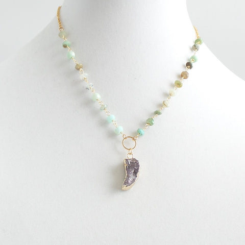 Green Opal Amethyst Horn Necklace