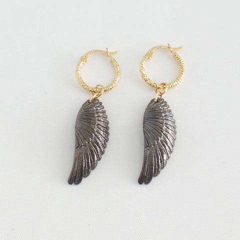 Gunmetal Wings Hoop Earrings