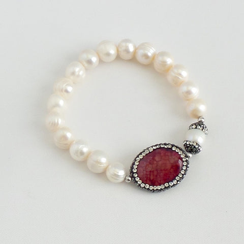 Jasper and Swarovski Fresh Water Pearl Bracelet