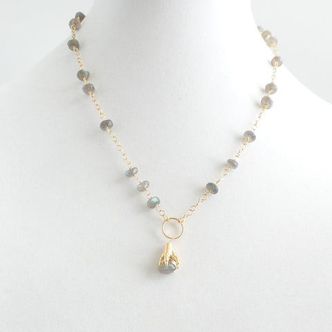 Labradorite Claw Short Necklace