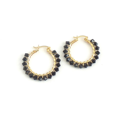 Medium Beaded Hoop Earrings *click for more colors
