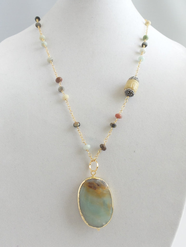 Opal and Agate Pendant Necklace